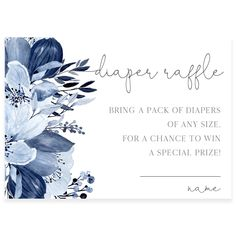 Blue Florals Diaper Raffle Card | Forever Your Prints