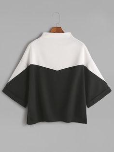 40b99c21652c4 Shop Color Block Mock Neck Slit Side Cuffed T-shirt online. SheIn offers  Color Block Mock Neck Slit Side Cuffed T-shirt amp  more to fit your  fashionable ...