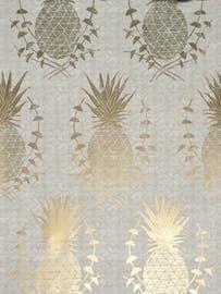 Royal Pineapple Gold  Floral, Organic, Prints, Metallic, Paper, Wall Coverings  by Krane