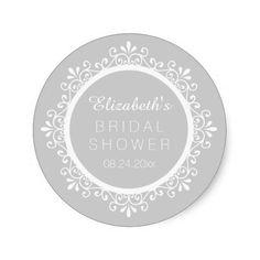 Lt Gray Elegant Floral Swirls #BridalShower Name Stickers