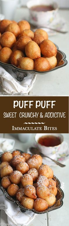 Puff Puff -The Quintessential West African Vegan Breakfast or Snack. Easy to make with step-by-step pictorial.Puff Puff -The Quintessential West African Vegan Breakfast or Snack. Easy to make with step-by-step pictorial. Vegan Desserts, Delicious Desserts, Dessert Recipes, Yummy Food, Ghanaian Food, Nigeria Food, West African Food, African Food Recipes, Mets