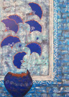 """""""BluEtrusco""""- acrilico su tela 50x70 by Maria Cristina De Amicis"""