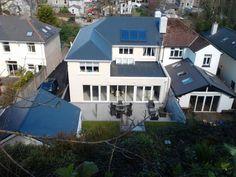 double storey side, single storey rear, if keep a flat roof, sedum/balcony?