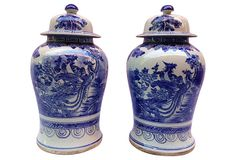 "Blue & White Hand-Painted Urns, Pair, on OneKingsLane.com | 12""dia x 19""h each"