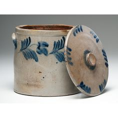 American (possibly Pennsylvania), century. A three-gallon, salt glazed stoneware lidded crock, with cobalt floral decoration; 11 in. Antique Crocks, Old Crocks, Antique Stoneware, Stoneware Crocks, Antique Pottery, Primitive Antiques, Glazes For Pottery, Ceramic Pottery, Pottery Art