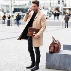 black and tan // menswear, denim, topcoat, camel coat, winter, fall, mens fashion, style, weekender, duffel