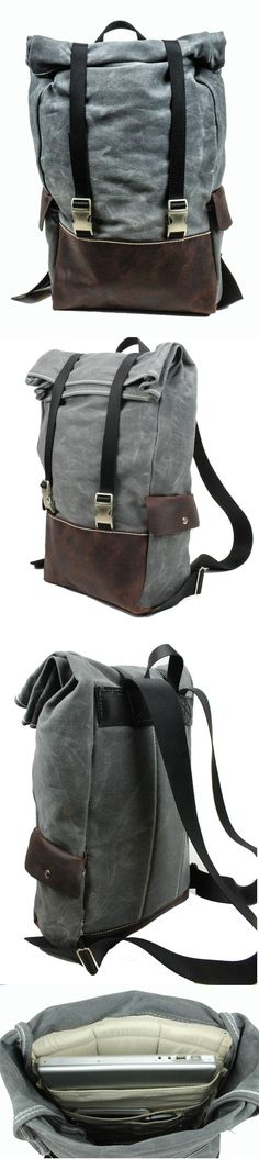 The man bag Rugged Material's Weatherproof Roll-top Laptop Backpack. Waxed Canvas, Leather and all metal hardware. Laptop Backpack, Backpack Bags, Top Laptops, Sac Week End, Leather Bag, Canvas Leather, Grey Leather, Fashion Bags, Mens Fashion