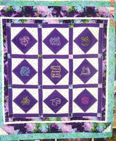 Granddaughter's custom designed quilt.  She was only 7 and picked out her fabrics.