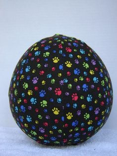 Balloon Ball with Drawstring Pouch in Paw Prints on by KerrysCrafts, $6.50