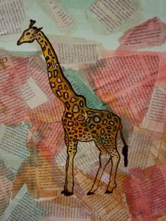 Pastel Giraffe Newsprint Collage  Nursery by ElizabethanFolkArt, $129.00