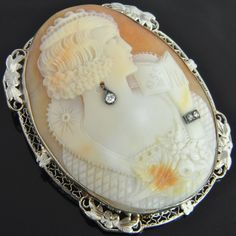 Antique 14K White Gold Deco Carved Shell Oval Cameo Diamond Pin