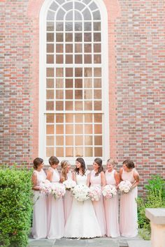 A Classic Black Tie Country Club of Virginia Wedding in Richmond Virginia with blush toned long bridesmaid dresses.