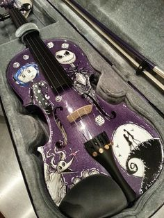 Awesome purple violin! Hand Painted Coraline and Nightmare Before Christmas Tim Burton Inspired Violin