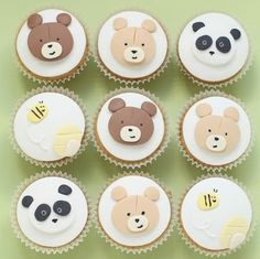 Teddy bears picnic cupcakes! panda cakes, bee cakes and bear cakes will look fab…