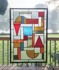 Stained glass window panel Arts and crafts clear blue by SGHovel