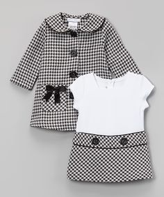Love this Black Houndstooth Bow Peacoat & Dress - Infant, Toddler & Girls by Gerson & Gerson on #zulily! #zulilyfinds