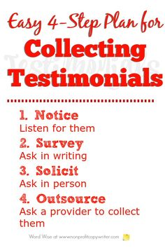 Easy Plan for Collecting Testimonials from Word Wise at Nonprofit Copywriter Easy Writing, Article Writing, Blog Writing, In Writing, Writing Tips, Writing Letters, Writing Websites, Blog Websites, Writing Resources