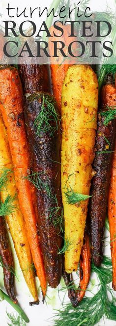 Turmeric Roasted Carrots Recipe The Mediterranean Dish. A simple side dish of whole roasted carrots prepared the Mediterranean way w/ olive oil, lime juice, garlic and spices like turmeric and cinnamon. A healthy and easy side dish that wins every time! Turmeric Recipes, Carrot Recipes, Vegetable Recipes, Vegetarian Recipes, Cooking Recipes, Healthy Recipes, Simple Recipes, Oven Cooking, Healthy Nutrition