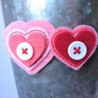Felt Heart Headband  Pink and Red Heart Headband  by PoppyandPippa