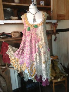 Luv Lucy Crochet Dress Light Olive Pansie by LuvLucyArtToWear, $350.00