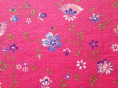 Pink swedish 60s retro floral vintage fabric. Scandinavian design, made in Sweden.