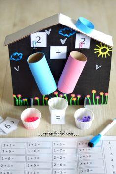 The house of additions - Kindergarten Maths - child baby leisure Hello; Montessori Activities, Math Classroom, Kindergarten Math, Learning Activities, Preschool Activities, Kids Learning, Teaching Aids, Teaching Math, Math Addition
