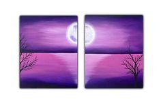 Full moon acrylic painting deep purple modern art home decor