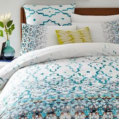 Organic Fading Trellis Duvet Cover - i'm kinda obsessing over this one now... matches perfectly with the teal wingback chair i'm coveting from World Market!
