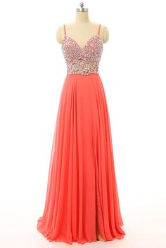 Orange chiffon beaded V-neck A-line open back long evening dresses for teens,long prom dress with straps - occasion dresses by Sweetheartgirls