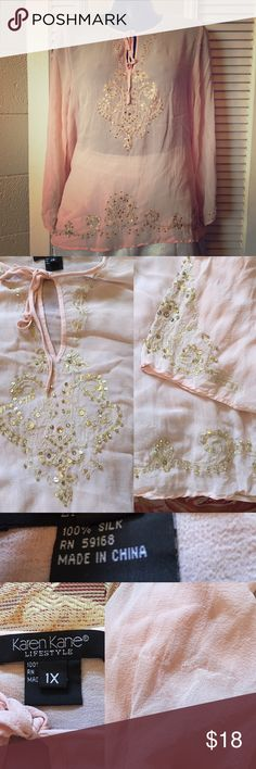 Embroidered Silk Tunic Gorgeous pink tunic with gold embroidery and sequins / one thread on right sleeve was damaged but not noticeable / ties at the neck / 100% silk Karen Kane Tops Tunics