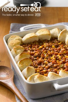 Sloppy Joe Biscuit Casserole....this meal can be prepared in under 30 minutes with putting a new twist on casseroles with biscuits, Sloppy Joe and green pepper