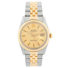 Men's 16013 Steel & Gold Rolex Datejust 2-Tone Watch Gold Rolex, Men's Rolex, Rolex Watches For Men, Rolex Datejust, Custom Boxes, Stainless Steel Case, Jewels, Markers, Champagne
