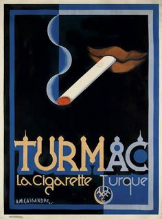 vintage Tarmac Cigarettes advertising poster by Adolphe Mouron Cassandre 1925 Vintage Advertising Posters, Vintage Advertisements, Vintage Posters, French Posters, Modern Graphic Design, Graphic Design Illustration, Graphic Art, Vintage Cigarette Ads, Pub Vintage