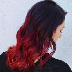 Gorgeous dark red ombre by - use our Blood Moon to get this look! Dark Ombre Hair, Dark Red Ombre, Best Ombre Hair, Hair Color Dark, Ombre Hair Color, Dark Hair, Red Hair Ends, Dyed Red Hair, Dye My Hair