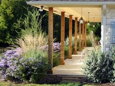 I like the porch, would use russian sage and karl forester grasses in my climate. Neat.