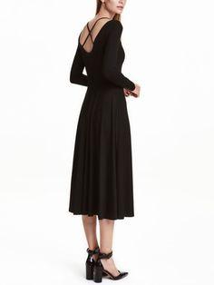 Black Cross Back Pleat Dress