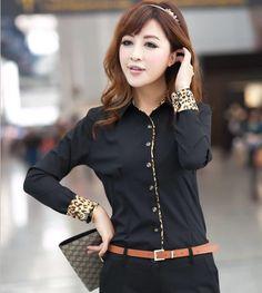1cf6e57786078 Cheap 2014 New CHIC Sexy OL moda de manga larga delgada camisa de algodón  con estampado