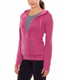 Take a look at the Neon Fuchsia Heather Sexy Sweat Half Zip Hoodie on #zulily today!