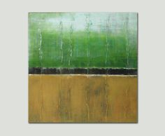 Original Abstract painting Green Yellow landscape by RonaldHunter