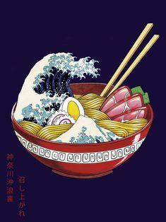 Great Wave Ramen Bowl Art Print 30 x 40 cm - Piper Homepage Vintage Illustration Art, Japon Illustration, Illustration Art Drawing, Creative Illustration, Abstract Digital Art, Ramen Bowl, Image Manga, Arte Pop, Mermaid Art