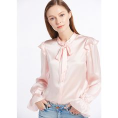 22MM Vintage Poet Sleeve Silk Shirts ($166) ❤ liked on Polyvore featuring tops, light pink shirt, vintage shirts, vintage tops, pink shirts and silk shirt