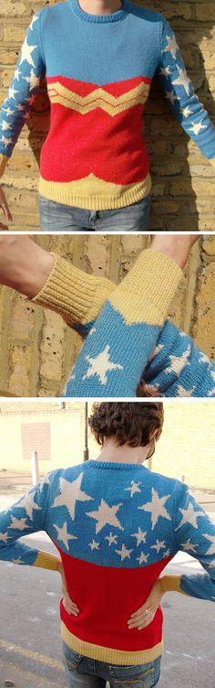 cute retro wonder woman sweater :)