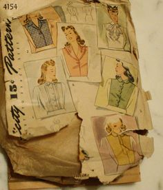 Simplicity 4154  Vintage 1940s Women's Dickey by EleanorMeriwether, $8.00