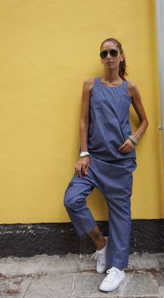 NEW Collection SS 2016 Sexy Denim Drop Crotch Jumpsuit by Aakasha