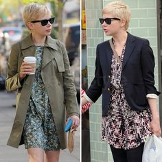 Michelle Williams in prints with a trench and blazer. Also, love the wayfarers.