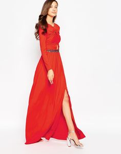 Image 4 of Little Mistress Tall Cut Out Maxi Dress with Embellished Waist