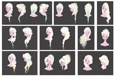 """""""One of the first assignments I received on Elsa was a redesign of her hair. She had initially been designed with a sharper silhouette, but as her character changed it became apparent that her style needed to be refreshed. We wanted something for her that was more approachable, more romantic, but that still retained some Norwegian ethnicity. Oh, and magical - it would be great if it was magical, too."""" — Brittney Lee"""