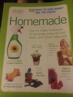 A awesome book to have!  DIY. Replacements for pantry staples, pickled, preserved,  and frozen foods. Baked goods.  Snacks nibbles and drinks.  Make your own take out food. Easy to make sweet treats. Your own beauty products.  Healthy home remedies. Wholesome natural pet care products.  Spit and polish cleaning products and useful house and garden products