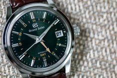A new GMT with a British Racing Green Mount Iwate dial. Seiko Automatic, Dream Watches, Seiko Watches, Luxury Watches For Men, Vintage Watches, Stainless Steel Case, Switzerland, Tik Tok, Group
