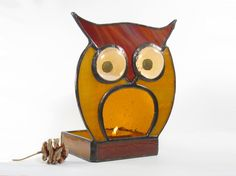 Stained Glass Candle Holder Votive Tea Light Owl Brown Amber Handmade OOAK. $49.99, via Etsy.